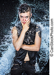 Boyish Woman Looking Fierce in Water Splashes - Three...