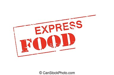Express food - Rubber stamp with text express food inside,...