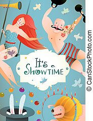 Circus Carnival Show Vintage Billboard Poster with Girl and Strong Man