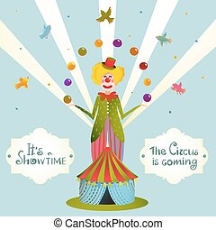 Circus Juggling Clown Carnival Show Vintage Poster