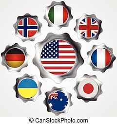 USA influence Metal gears and flags Vector background