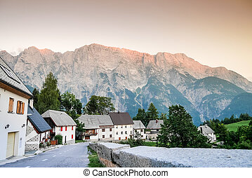 Charming village in Triglav National Park, Slovenia, Europe