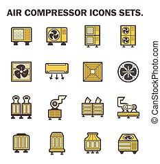 lucht, Compressor, iconen,