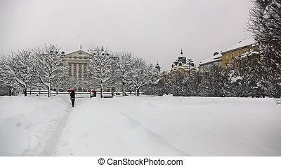 Zagreb city center, king Tomislav square, heavy snowing