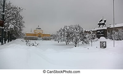 Panorama of king Tomislav square with statue and art gallery...