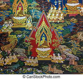 Thai mural painting art - Ancient Buddhist temple mural...