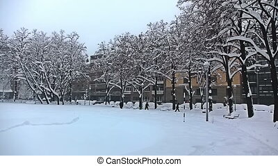 Park in the center of Zagreb while snowing - Park in the...