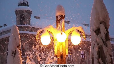 Street lamp while heavy snowing in Zagreb old town center
