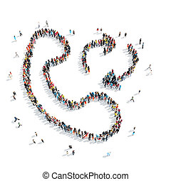 people shape handset cartoon - A group of people in the...