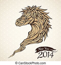 Wooden Horse head illustration