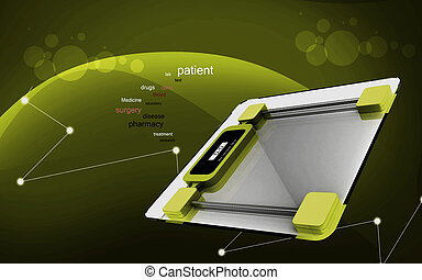 Weight scale - Digital illustration of weight scale in...