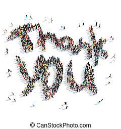 people shape thank you  cartoon