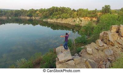 Aerial: yong man enjoying nature