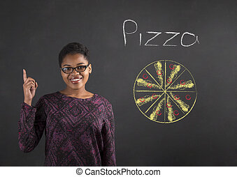 African woman good idea for pizza on blackboard background -...