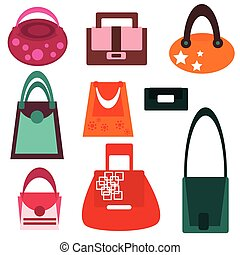 Set of fashionable woman's bags