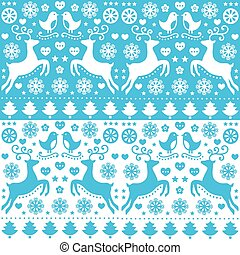 Winter, Christmas seamless pattern - Retro style blue Xmas...