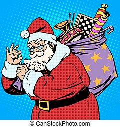 Santa Claus with gift bag okay gesture retro style pop art