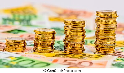 stack coins, rising curve, symbol photo for increasing...