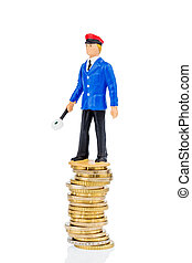 railway employee on money stack, symbol photo for early...