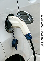electric car at charging station symbol of ecology, climate...