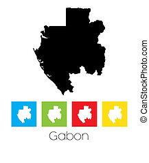 Outlines and Coloured Squares of the Country of Gabon - A...