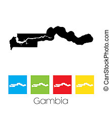 Outlines and Coloured Squares of the Country of Gambia - A...
