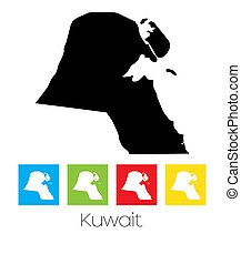 Outlines and Coloured Squares of the Country of Kuwait - A...