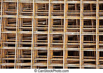 steel mesh at construction site - at a construction site are...