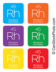 Informative Illustration of the Periodic Element - Rhodium -...