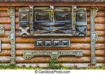 Traditional wooden Russian carved platband of an old wooden...