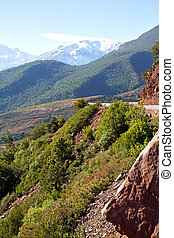 the dades valley in atlas street snow - dades valley in...