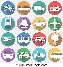 Vehicles with Long Shadow, Transport Vector illustration -...