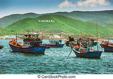 Fishing boats in marina at Vietnam - Nha Trang, VIETNAM -...