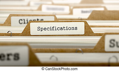 Specifications Concept with Word on Folder - Specifications...