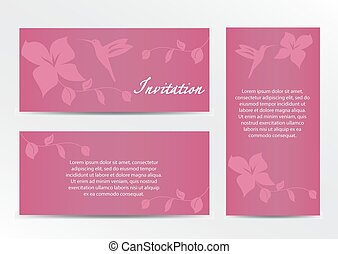 Invitation, Save the Date Card Set with hummingbird on pink background - for Wedding, Baby Shower