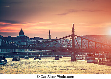 evening view on Budapest from river to the bridge and...