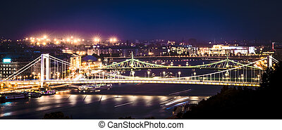 night view on Danube - amazing night view on Danube in...