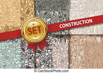 Set of construction backgrounds with doodle icons in...