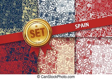Set of Spain backgrounds with doodle icons in different...