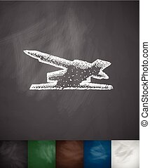 antiaircraft rockets icon. Hand drawn vector illustration....