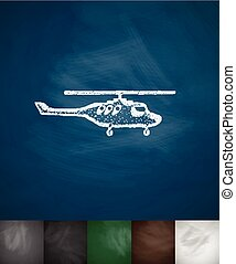 helicopter icon Hand drawn vector illustration Chalkboard...