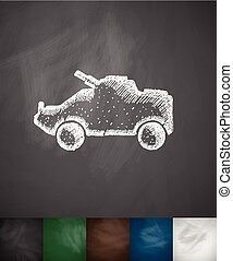 armoured personnel carrier icon. Hand drawn vector...