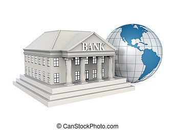 Bank Building and Globe isolated on white background 3D...