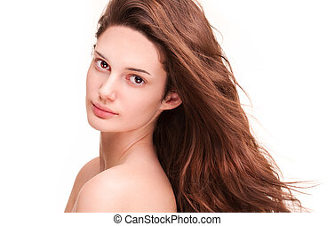 Shiny healthy hair - Portrait of a brunette beauty with...