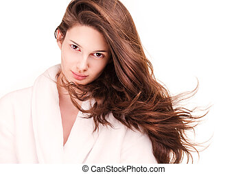 Shiny healthy hair - Portrait of a gorgeous young brunette...