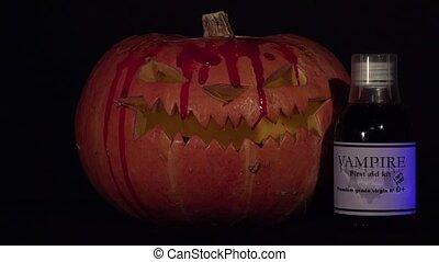 halloween pumpkin dripping blood