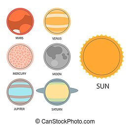 Vector set of astrological planets. Modern Flat thin set of...