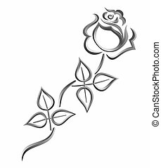 rose - stylized rose for obituary or tomb stone