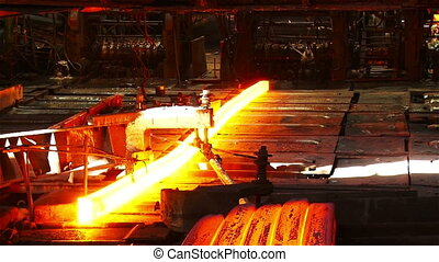 Production of billets - Hot steel pouring in steel plant