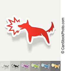realistic design element. dog barking - dog barking paper...